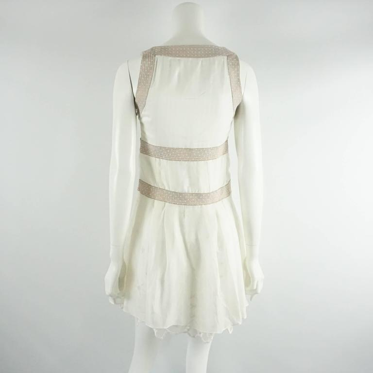 Gray Nina Ricci Ivory Cotton and Lace Slip Dress - 6 - circa 1990's  For Sale