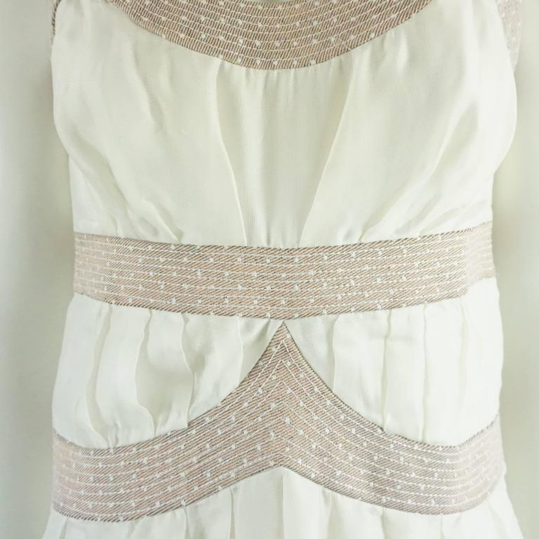 Nina Ricci Ivory Cotton and Lace Slip Dress - 6 - circa 1990's  In Good Condition For Sale In Palm Beach, FL
