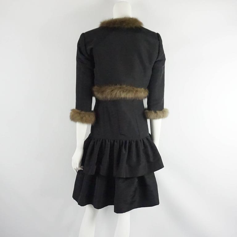 Oscar de la Renta Black Taffeta Dress and Jacket with Sable Trim - 10 In Excellent Condition For Sale In Palm Beach, FL