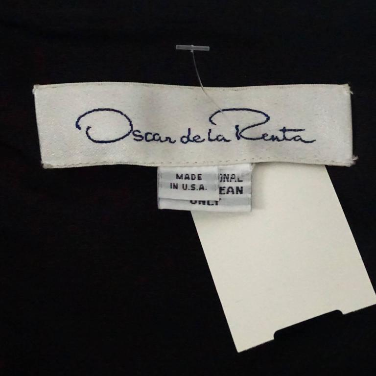 Oscar de la Renta Black Taffeta Dress and Jacket with Sable Trim - 10 For Sale 1