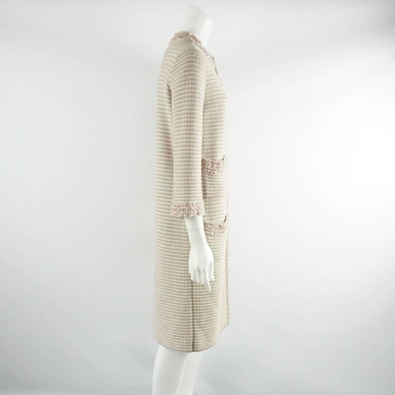 Chanel Tan, Ivory, and Rose Cashmere Blend Full Sweater Coat - 40  2