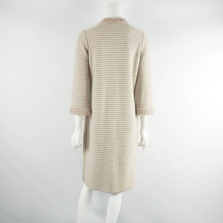 Chanel Tan, Ivory, and Rose Cashmere Blend Full Sweater Coat - 40  3