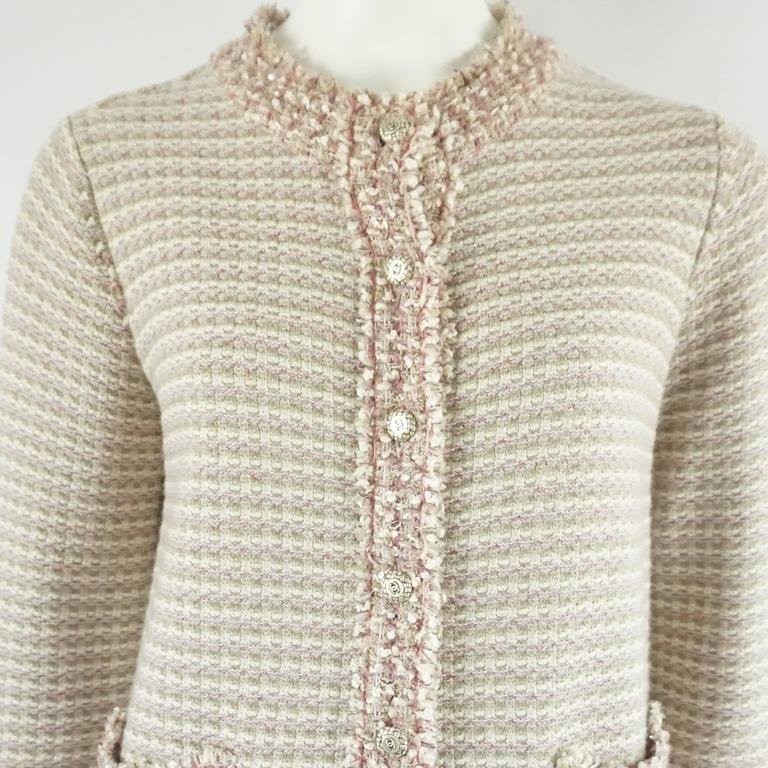 Chanel Tan, Ivory, and Rose Cashmere Blend Full Sweater Coat - 40  4