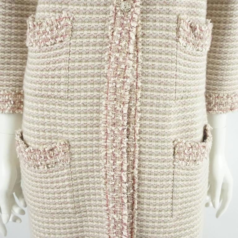 Chanel Tan, Ivory, and Rose Cashmere Blend Full Sweater Coat - 40  6