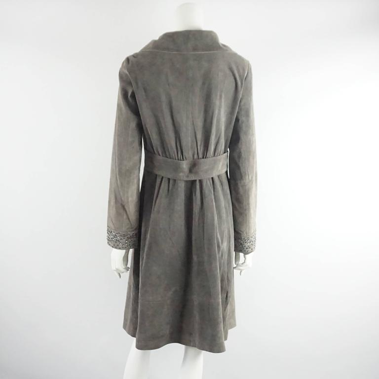 Gray Fendi Grey Suede Full Coat with Sequins Detail - 42 - 1990's  For Sale