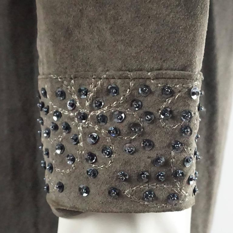 Women's Fendi Grey Suede Full Coat with Sequins Detail - 42 - 1990's  For Sale