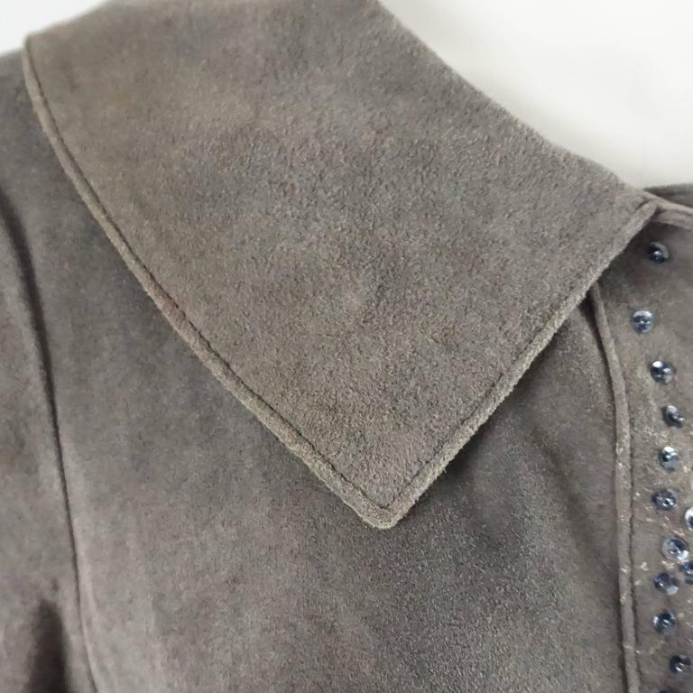 Fendi Grey Suede Full Coat with Sequins Detail - 42 - 1990's  For Sale 2