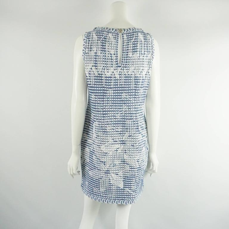 Gray Chanel Blue and White Knit Sleeveless Shift Dress with Pockets - 38 For Sale
