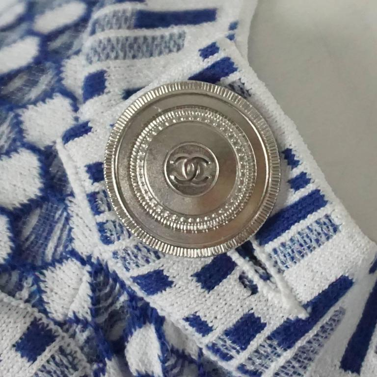 Chanel Blue and White Knit Sleeveless Shift Dress with Pockets - 38 4