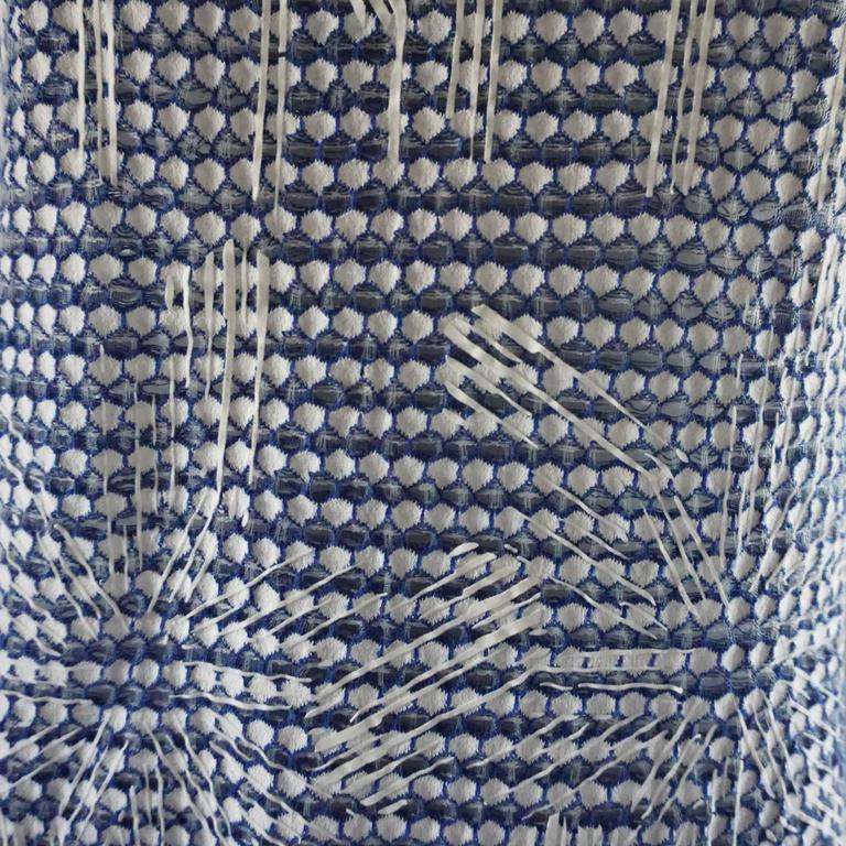 Women's Chanel Blue and White Knit Sleeveless Shift Dress with Pockets - 38 For Sale