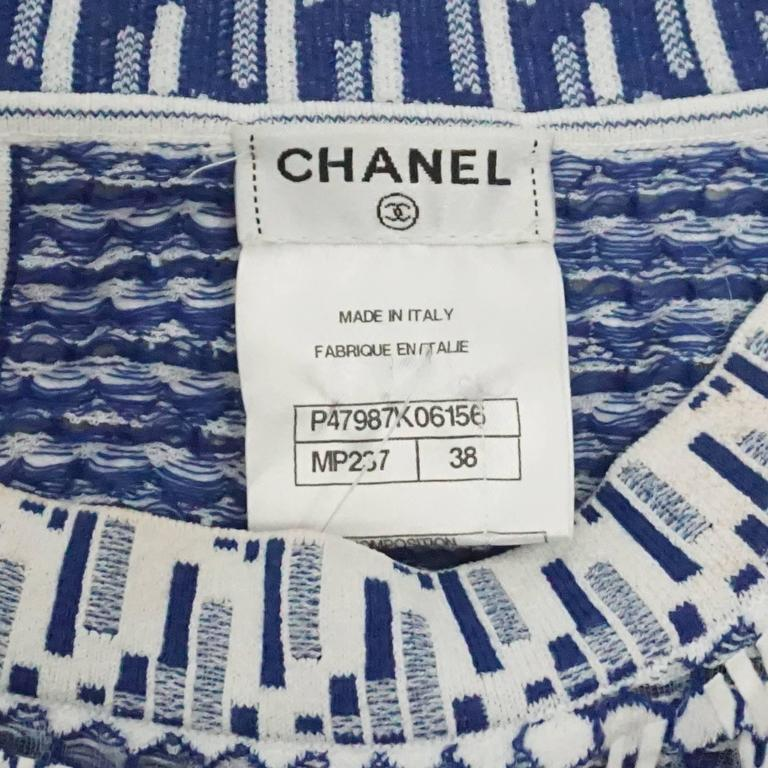 Chanel Blue and White Knit Sleeveless Shift Dress with Pockets - 38 6