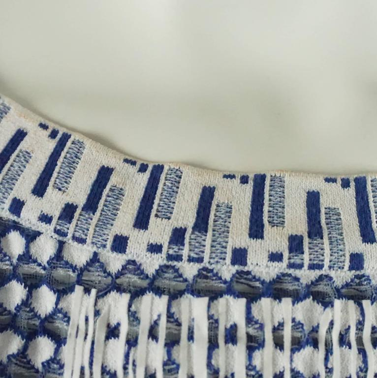Chanel Blue and White Knit Sleeveless Shift Dress with Pockets - 38 7