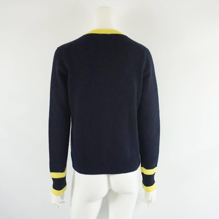Chanel Navy and Yellow Trim Cashmere Sweater - 42 3