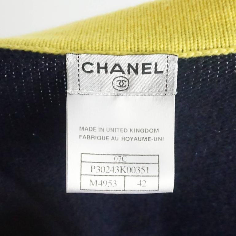 Chanel Navy and Yellow Trim Cashmere Sweater - 42 5