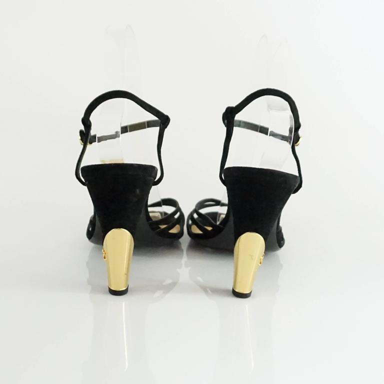 Women's Chanel Black Suede Ankle Strap Heels - 40.5 For Sale
