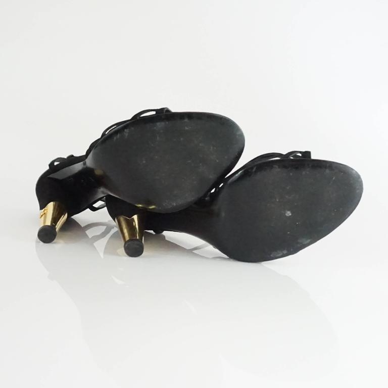 Chanel Black Suede Ankle Strap Heels - 40.5 For Sale 1
