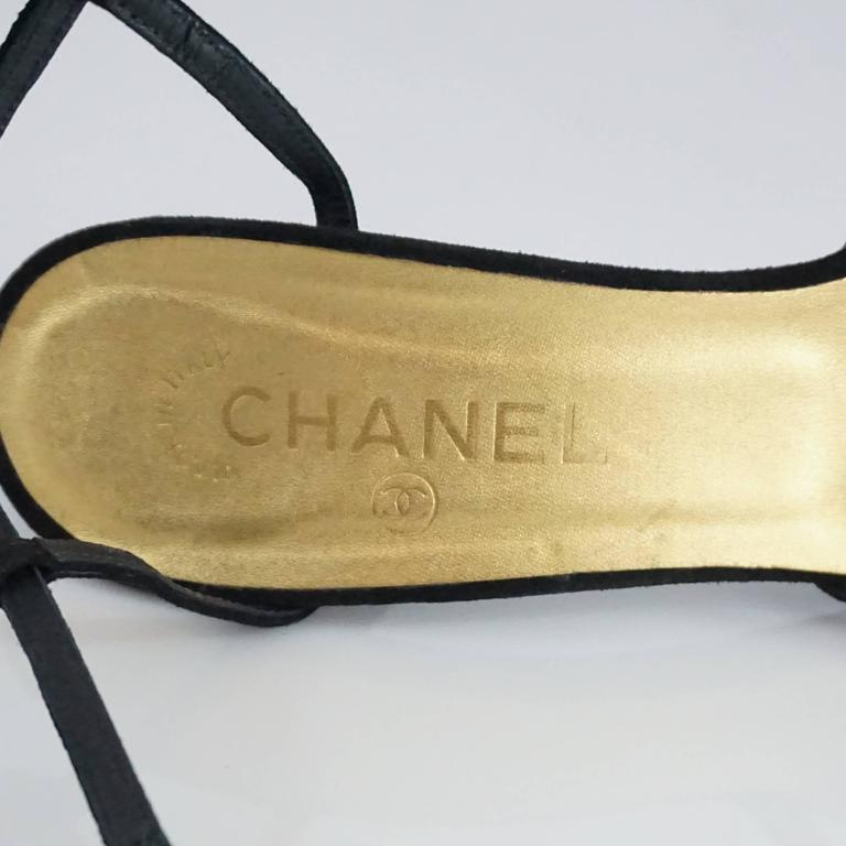 Chanel Black Suede Ankle Strap Heels - 40.5 For Sale 3
