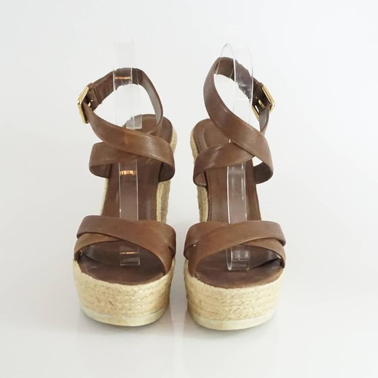e4dcb10304b YSL Brown Leather Ankle Strap Straw Wedges - 41 In Good Condition For Sale  In Palm