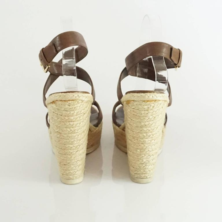 81fc299c413 YSL Brown Leather Ankle Strap Straw Wedges - 41 For Sale at 1stdibs