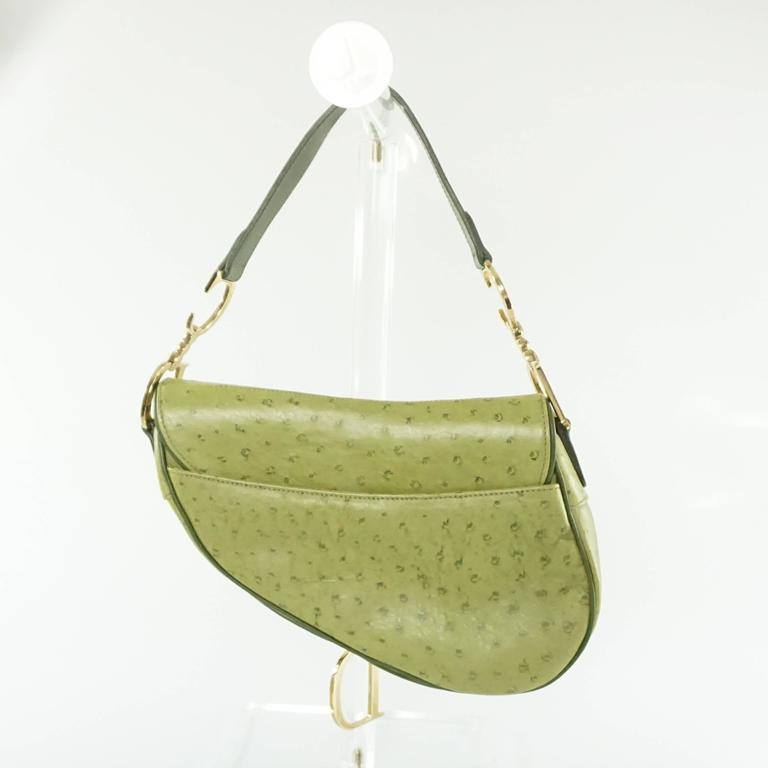 3899729db74b Brown Christian Dior Green Ostrich Saddle Bag with Logo For Sale