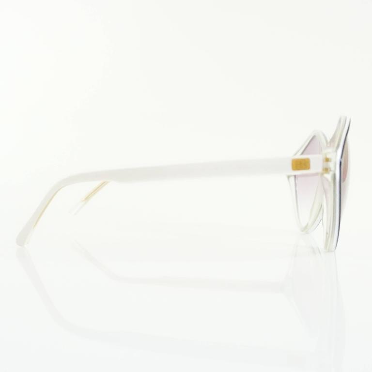 Balenciaga Black and White Diamond Shape Lucite Sunglasses - 1980's  2