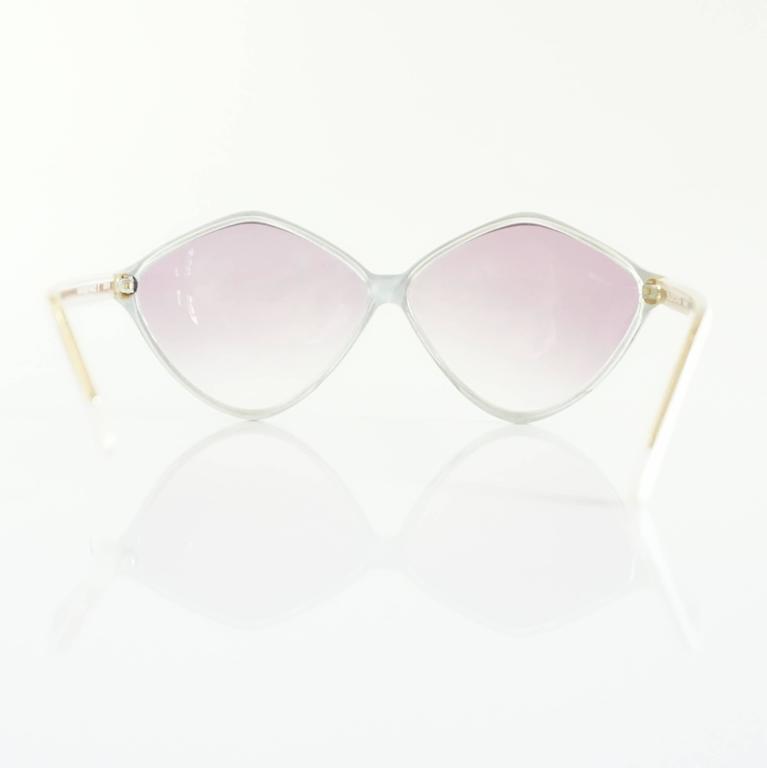 Balenciaga Black and White Diamond Shape Lucite Sunglasses - 1980's  3