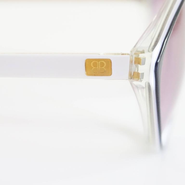 Balenciaga Black and White Diamond Shape Lucite Sunglasses - 1980's  6