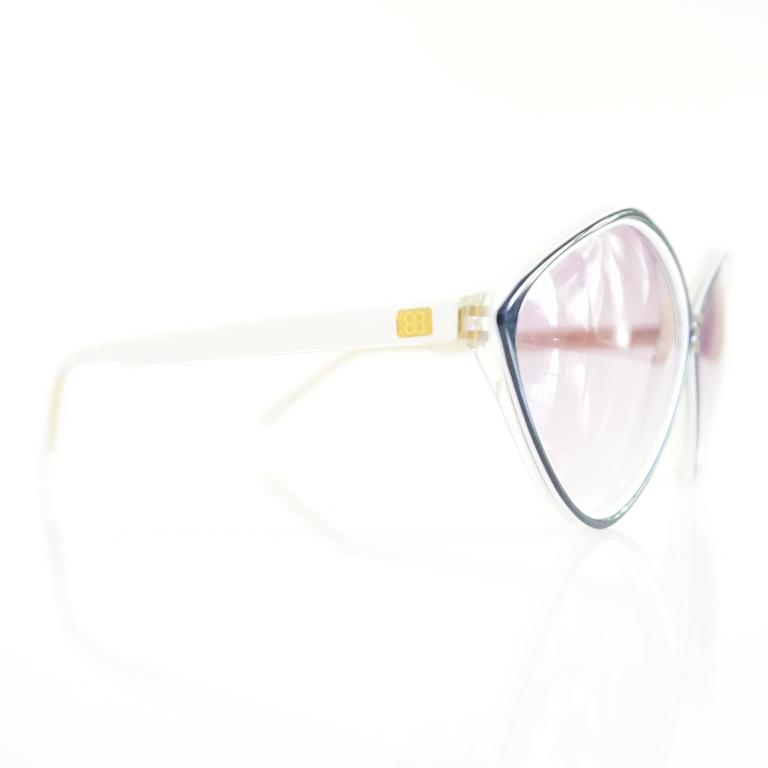 Balenciaga Black and White Diamond Shape Lucite Sunglasses - 1980's  7
