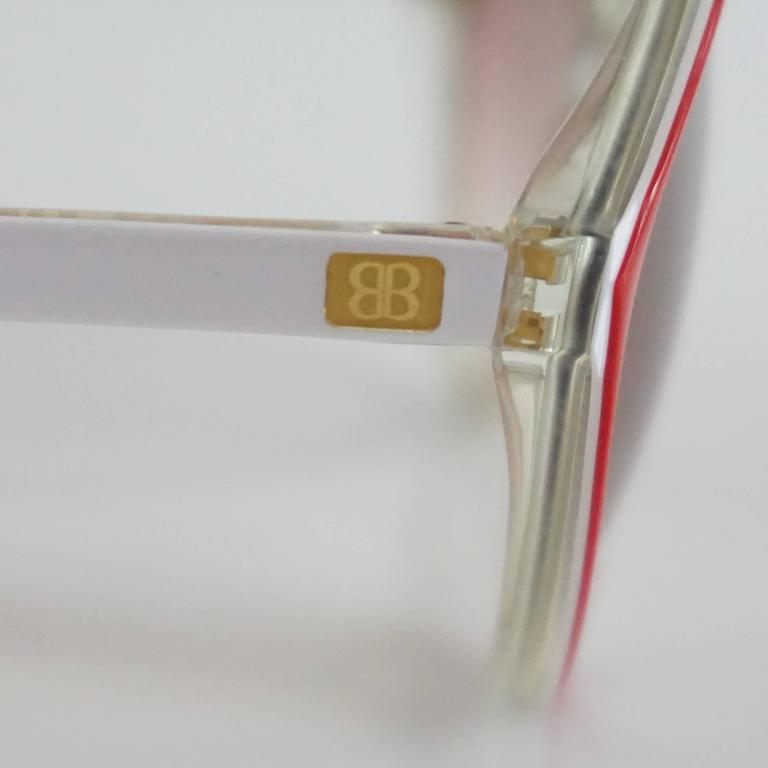 Balenciaga Red and White Diamond Shape Lucite Sunglasses For Sale 2