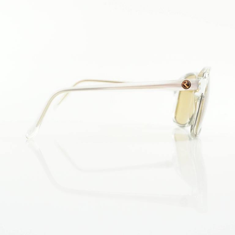 Rochas Clear Square Sunglasses with Brown Lens In Excellent Condition For Sale In Palm Beach, FL