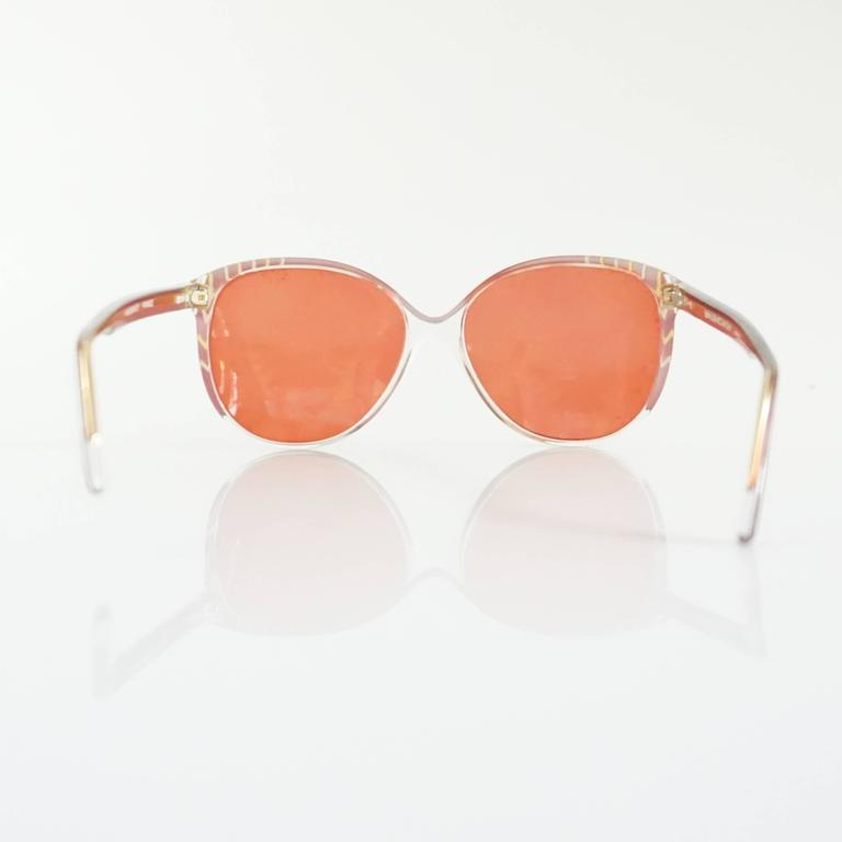 Orange Balenciaga Red and Clear Lucite Sunglasses with Red Lenses For Sale
