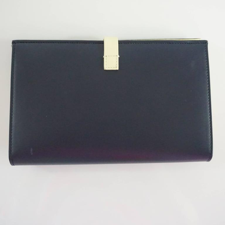 Black Celine Navy and Ivory Oversize Wallet  For Sale