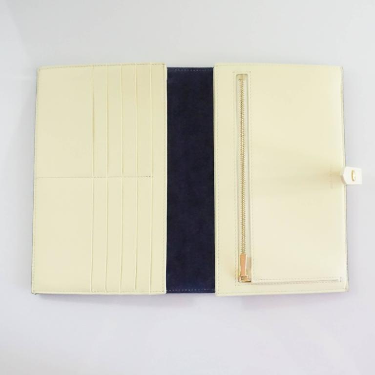 Celine Navy and Ivory Oversize Wallet  For Sale 1