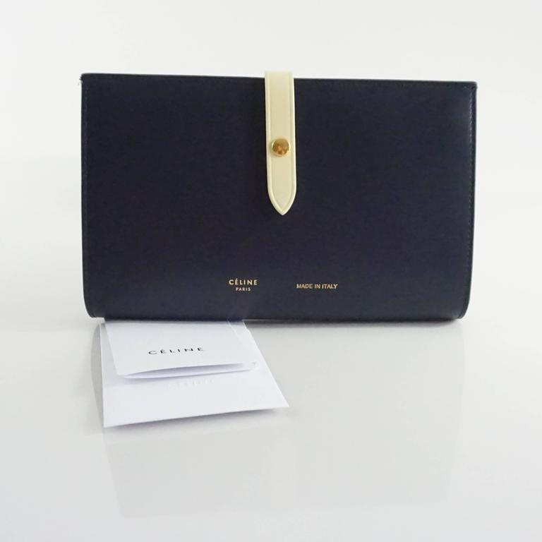 Celine Navy and Ivory Oversize Wallet  For Sale 4