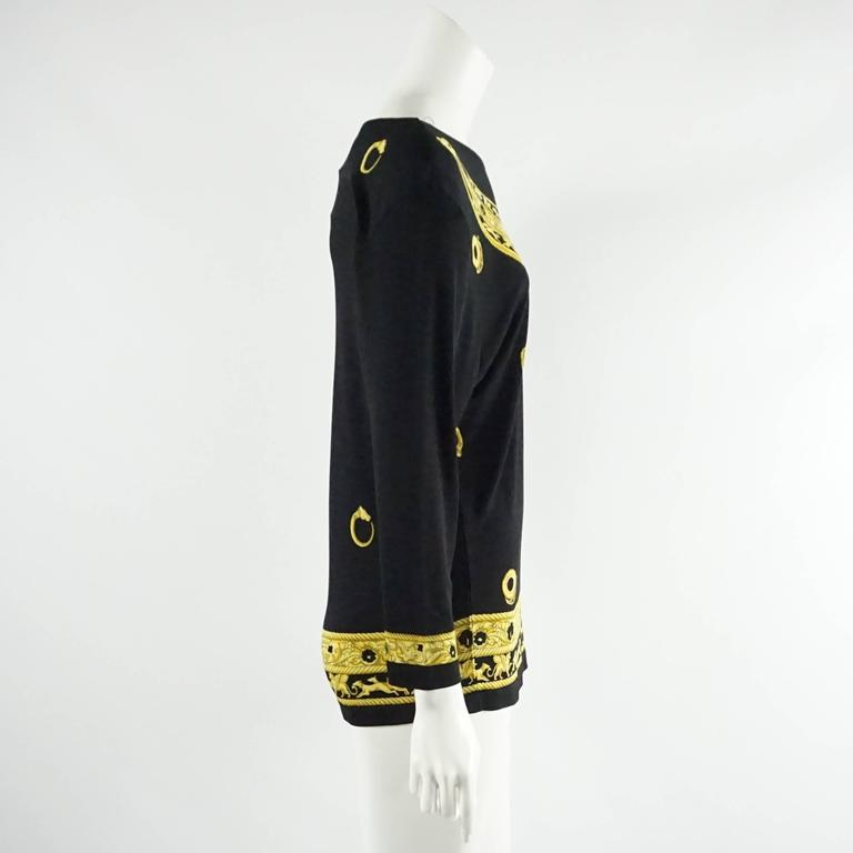 Hermes Black and Yellow Print Jersey Top - M - circa 1970's  2