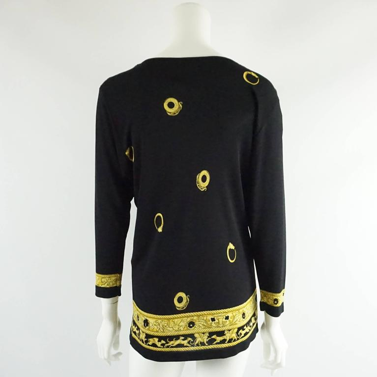 Hermes Black and Yellow Print Jersey Top - M - circa 1970's  3