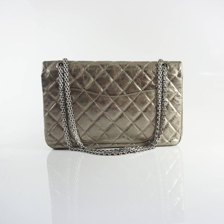Gray Chanel Pewter 2.55 Reissue 227 Double Flap Bag - 2006  For Sale