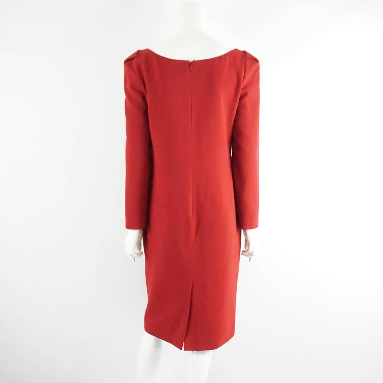 Alexander McQueen Red Wool Long Sleeve Dress with Peplum - 44 In Excellent Condition For Sale In Palm Beach, FL