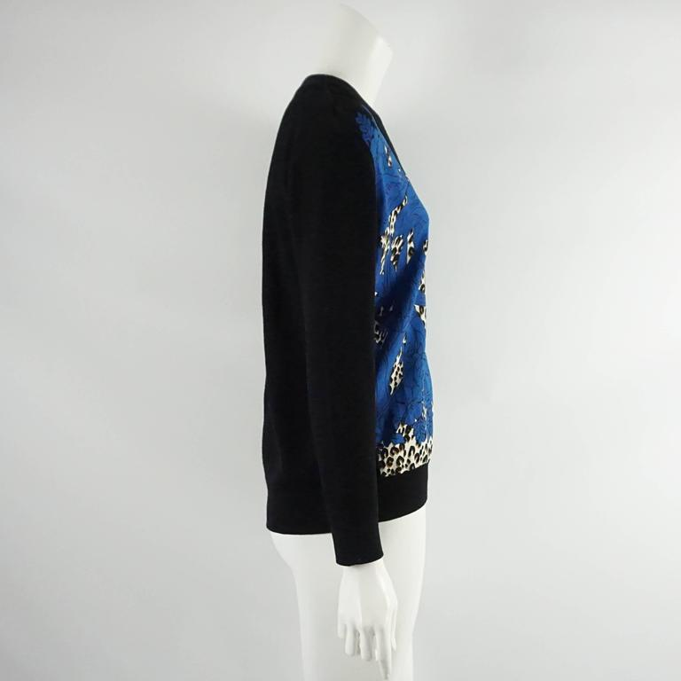 Louis Vuitton Black Wool Cardigan with Blue Silk Front - S 2