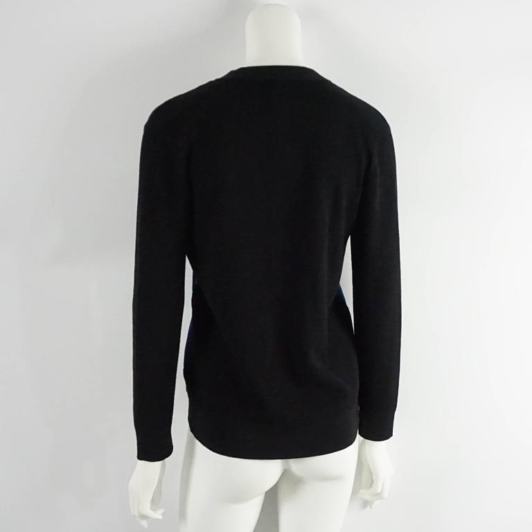 Louis Vuitton Black Wool Cardigan with Blue Silk Front - S In Excellent Condition For Sale In Palm Beach, FL