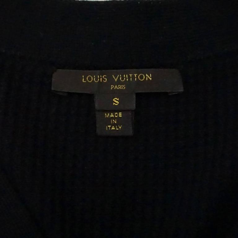 Louis Vuitton Black Wool Cardigan with Blue Silk Front - S 5