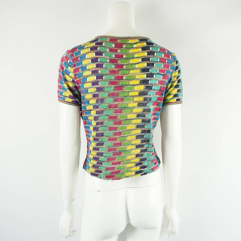 Missoni Multi Cotton Knit Vintage Sweater Set - M In Excellent Condition For Sale In Palm Beach, FL