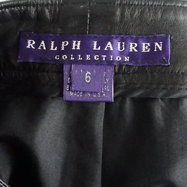 Women's Ralph Lauren Collection Black Leather Shorts - 6 For Sale