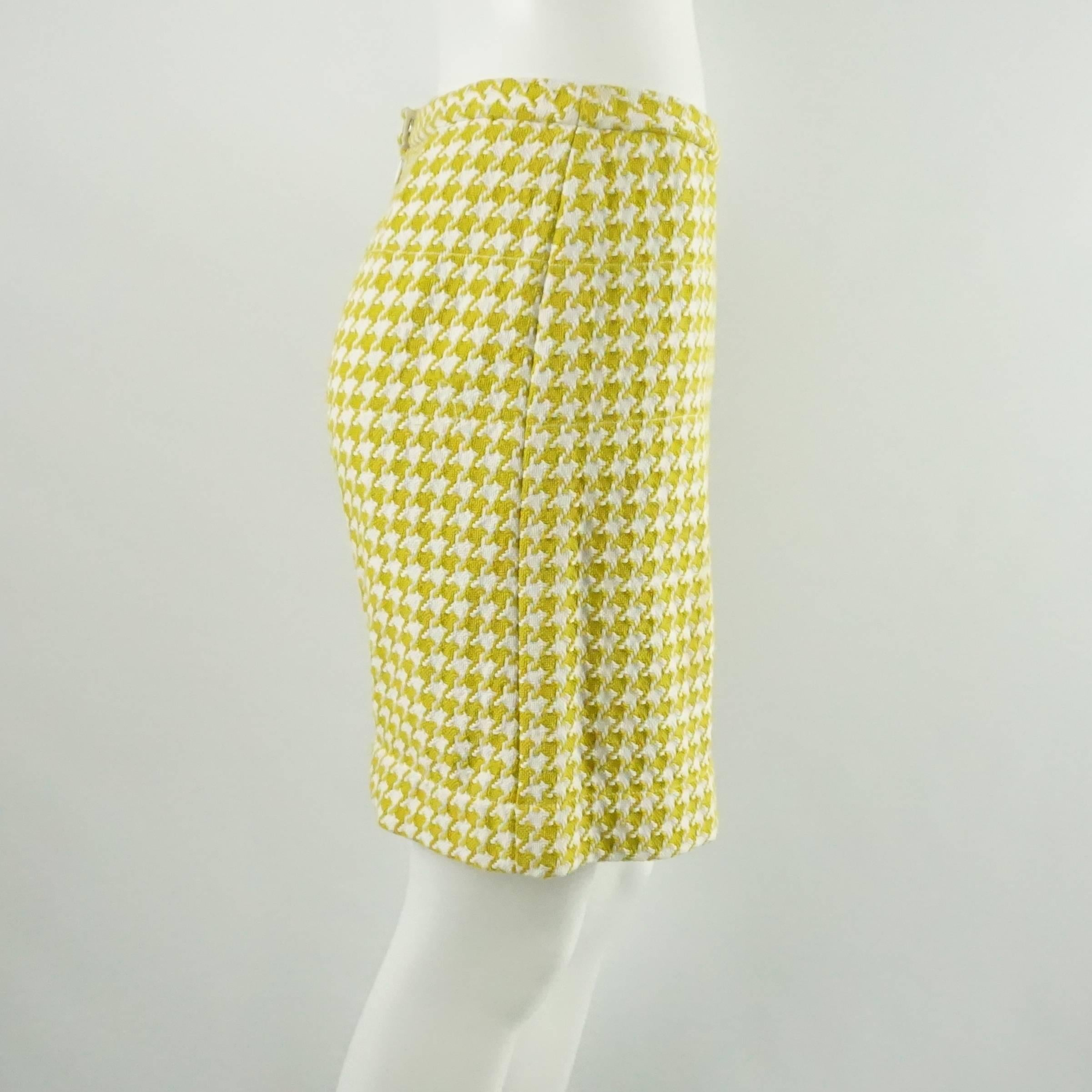025e0cfc1a Dolce and Gabbana Yellow and White Houndstooth Skirt with Rhinestones - 38  For Sale at 1stdibs
