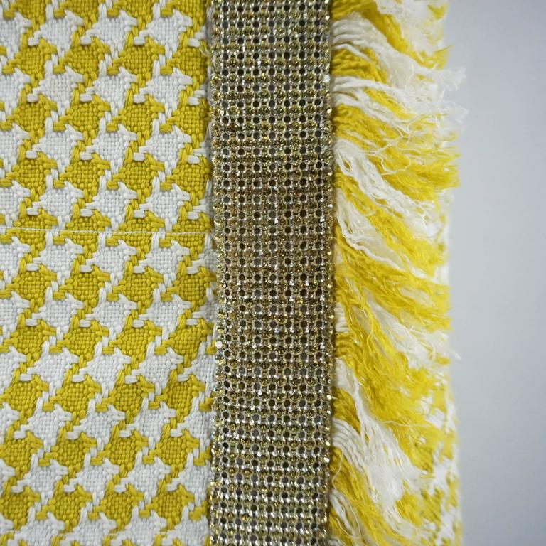 df0b4bf95a Dolce & Gabbana Yellow and White Houndstooth Skirt with Rhinestones - 38 In  Good Condition For