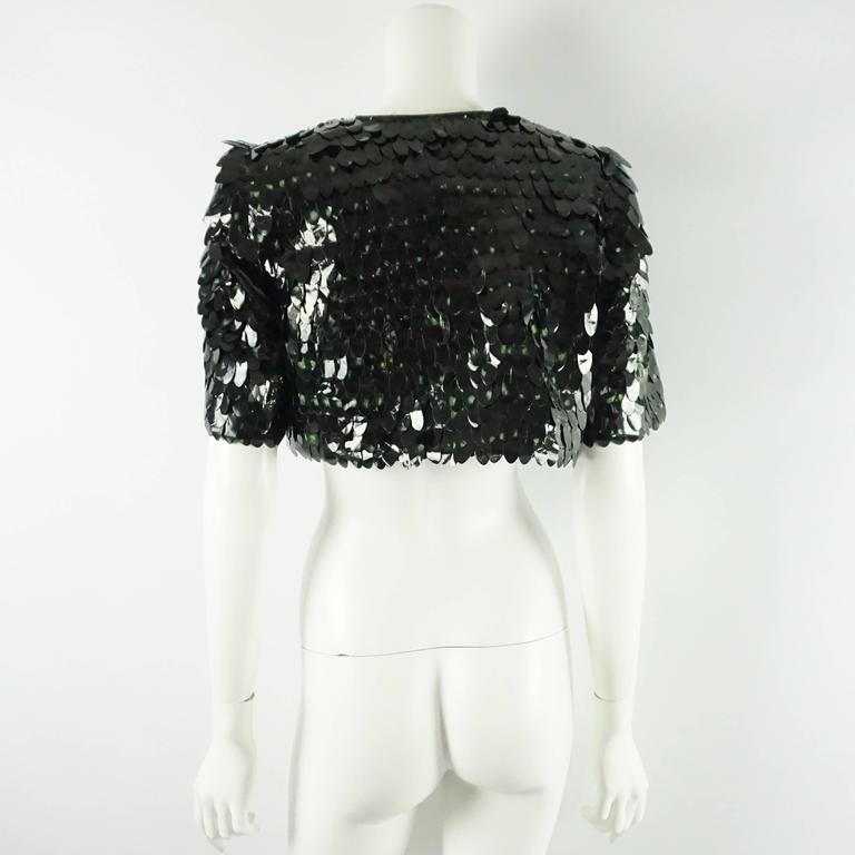 Black Marc Jacobs Dark Green Pailette Sequin Bolero - 4  For Sale