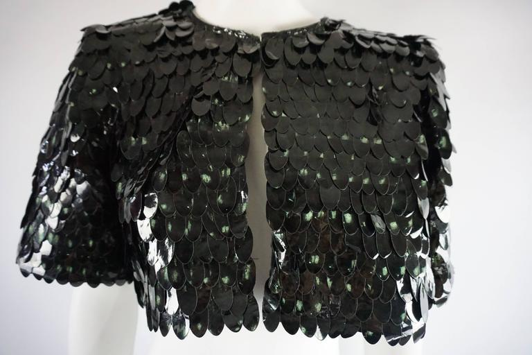 Marc Jacobs Dark Green Pailette Sequin Bolero - 4  In Fair Condition For Sale In Palm Beach, FL