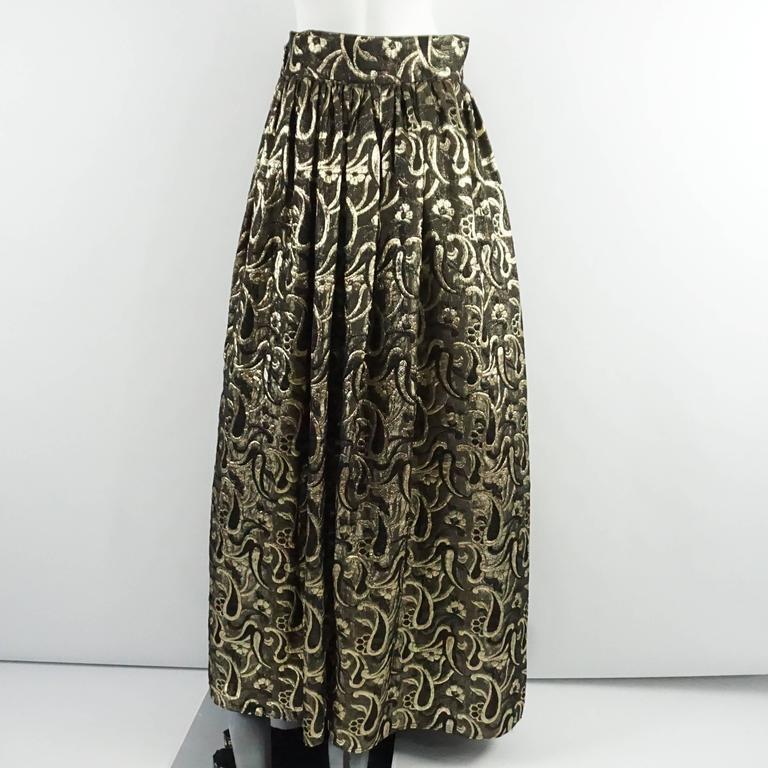 Black Dolce & Gabbana Gold and Bronze Silk Brocade Maxi Skirt - S For Sale