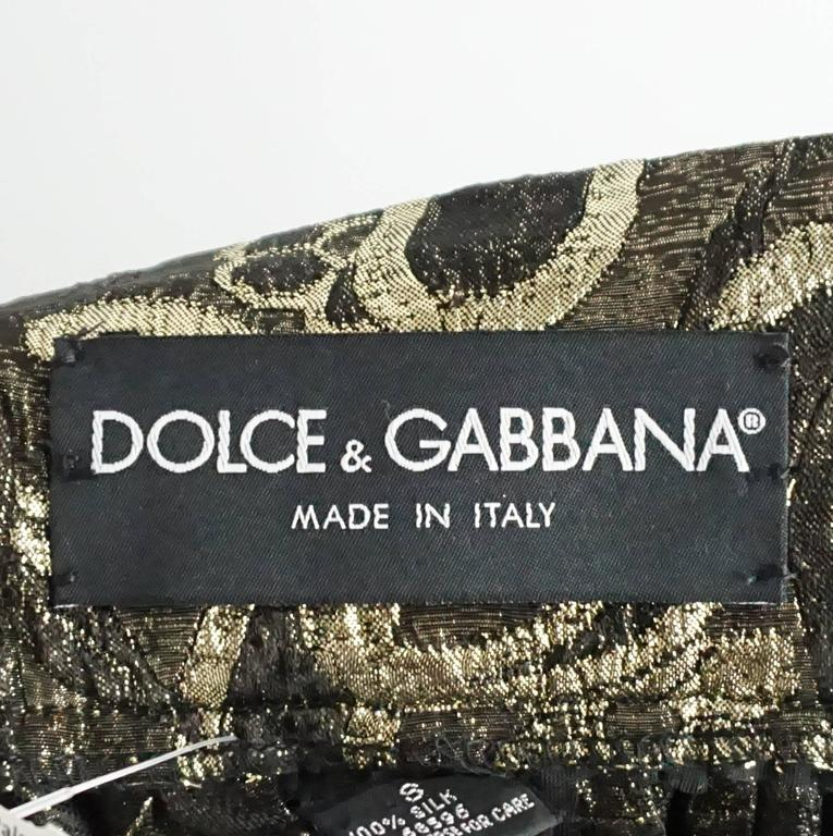 Dolce & Gabbana Gold and Bronze Silk Brocade Maxi Skirt - S In Excellent Condition For Sale In Palm Beach, FL