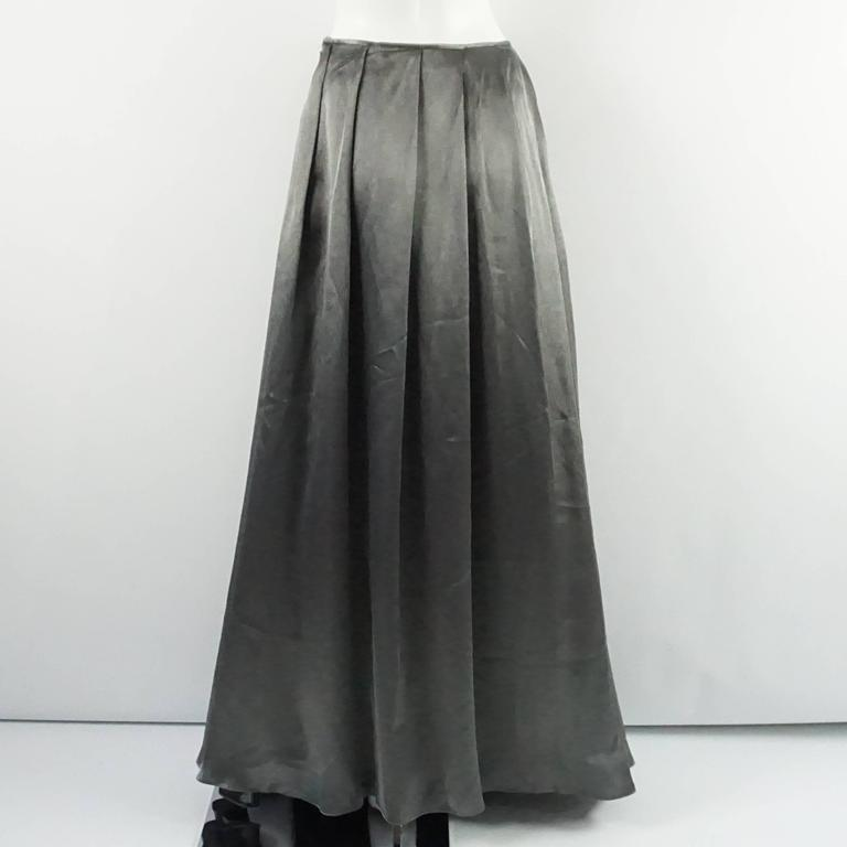 Black Valentino Grey Metallic Silk Maxi Skirt - 12 For Sale